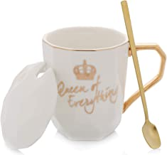 Grature Coffe Mug GiftWith Lid and Stir Spoon | Queen of Everything | White
