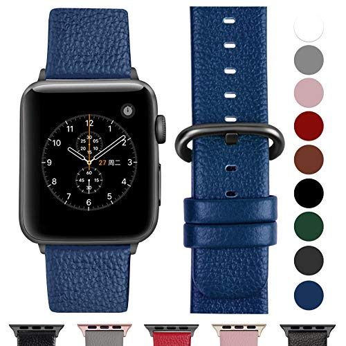 Fullmosa Cinturino per Apple Watch 42 mm/44 mm, Cinturino Pelle Compatibile con Apple Watch Serie 5, Serie 4, Serie 3, Serie 2, Serie 1, Sport, Nike+, Hermès, Edition, Blu Scuro + Fibbia Grigia fumé