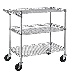 Stainless steel Utility Cart with Wheels-3 Tier Heavy Duty Commercial Grade Utility Cart