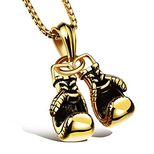 Personalisiert Collier Für Herren Handschuhe Boxhandschuhe Anhänger Halskette Motorradfahrer Biker Modeschmuck Edelstahl, 3 Farben,Gold