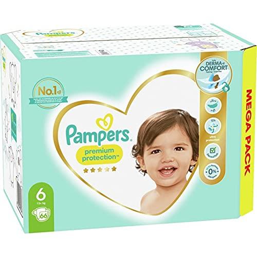 Pampers - Pañales para bebé Premium Protection, talla 6, 66 pañales