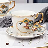 ZZLLFF Set de Taza de café de Porcelana Jungle Animal Taza de café y platillo Pájaro Mono Estilo Oro Hueso de Oro Taza de té (Color : 03)