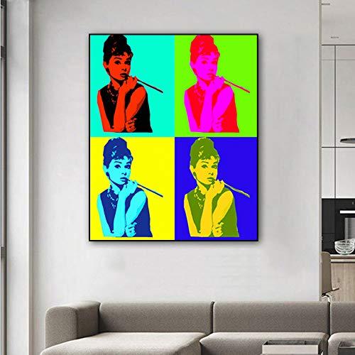 jiushibt Sin marcoAndy Warhol Obra Audrey Hepburn Pop Art Impresiones Lienzo Pintura Decoración Moderna para el hogar Cuadros de60x60cm