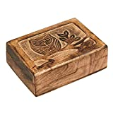 Wood Jewelry Box Organizer Keepsake Storage Collection Natural Wood Burn Art Treasure Memory Box for Ring Bracelet Watch Necklace Earring and Accessories Handmade Vintage Box with Tree of Life Design