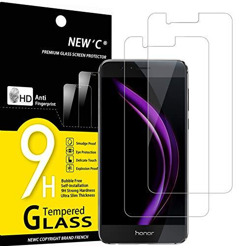 NEW'C 2 Unidades, Protector de Pantalla para Huawei Honor 8, Antiarañazos, Antihuellas, Sin Burbujas, Dureza 9H, 0.33 mm Ultra Transparente, Vidrio Templado Ultra Resistente