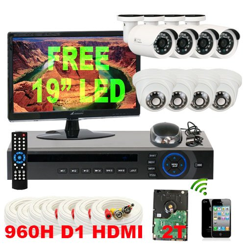 Fantastic Prices! GW Security Inc 8CHV7 8 Channel H.264 DVR with 8 x 1/3 HDIS CCD Security Camera 6...