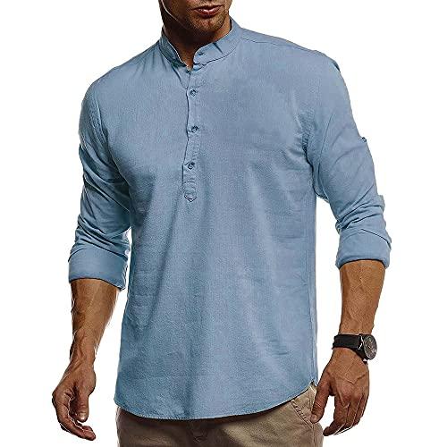 Shirt Hombre Transpirable Slim Fit Tapeta con Botones Hombre Shirt Ocio Básica Color Sólido Cuello Alto Hombre Camisa Henley Manga Larga Hombre Camisa Funcional C-Light Blue M