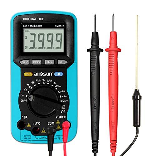 ALLOSUN Portable Autorange Digital Multimeter AC DC Volt Lux Meter Sound Temp Humidy Tester DMM