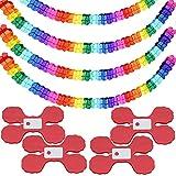 Conruich 4 piezas decoración de papel guirnalda colores juego decoración fiesta guirnalda flores cuatro hojas guirnalda fiesta diseño habitación matrimonio para ceremonia graduación decoración fiesta