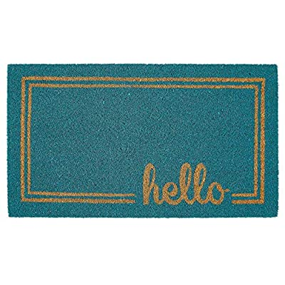 mDesign Rectangular Coir and Rubber Entryway Welcome Doormat with Natural Fibers for Indoor or Outdoor Use - Decorative Script Hello Design - Turquoise/Natural