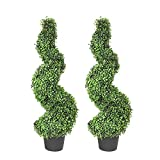 MOMO PLANT 35 Inch Artificial Boxwood Topiary Tree Spiral Plants Fake Faux Plant Decor in Plastic Pot Green Indoor or Outdoor, Set of 2