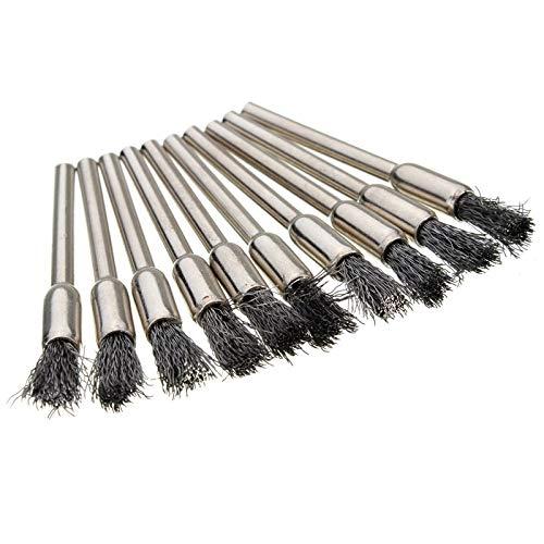 Ohne Markenzeichen 10pcs / Set 5mm Drahtbürste Radkappe reinigen Brass & Steel & Nylon for Präzisionswerkzeuge