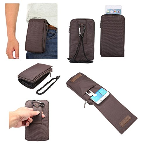 DFVmobile - Multi-Functional Universal Vertical Stripes Pouch Bag Case Zipper Closing Carabiner for COOLPAD Modena E501 - Brown XXM (18 x 10 cm)