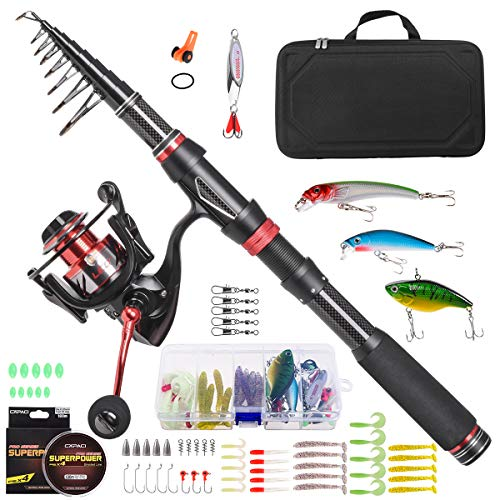 Leo Spinning Rod and Reel Combos Telescopic Fishing Set with Carrier Case Portable Fishing Pole Full Kit 64Pcs for Travel Saltwater Freshwater (Rod and Reel Combos with Carry Case, 2.1m/6.89ft)