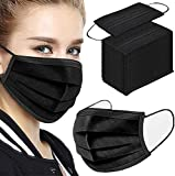 50Pcs Disposable Face Masks, 3-ply Disposable Masks Black Face Mask with Elastic Ear Loop, Medical Masks...