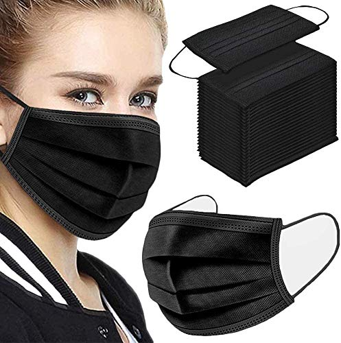 50Pcs Disposable Face Masks, 3-ply Disposable Masks Black Face Mask with Elastic Ear Loop, Black Masks Breathable Non-woven Masks, Fashion Face Covering for home, office, outdoor