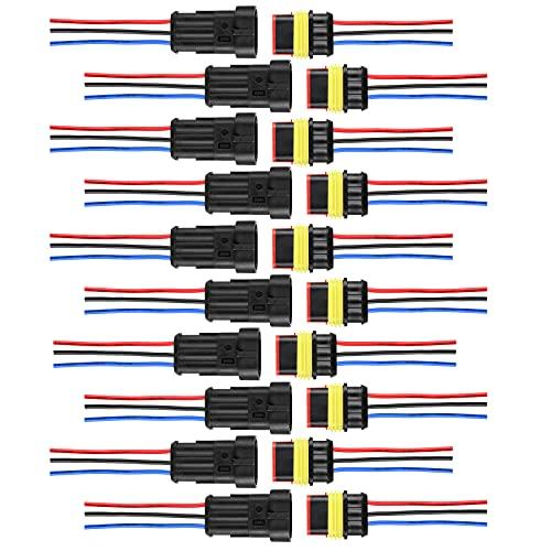 Conectores Electricos,ihaspoko 10 Kit 3 Pines Conector Estanco Conector de Cable Enchufe...