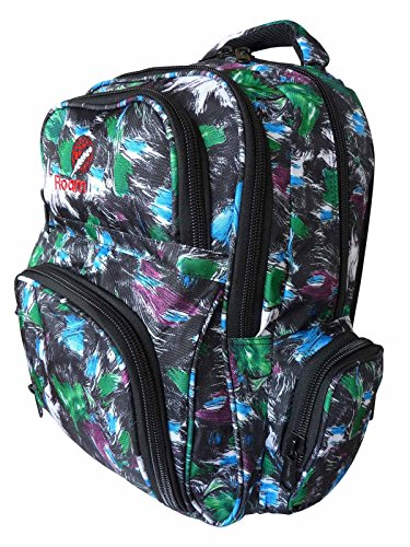 Skiing Snow-Boarding Backpack Bag - Medium Size Skaters Rucksacks with 6 Pockets, 30 Litre Day-Pack - Water Resistant 46cm x 32 x 20 - Roamlite RL839M (Paint Green)