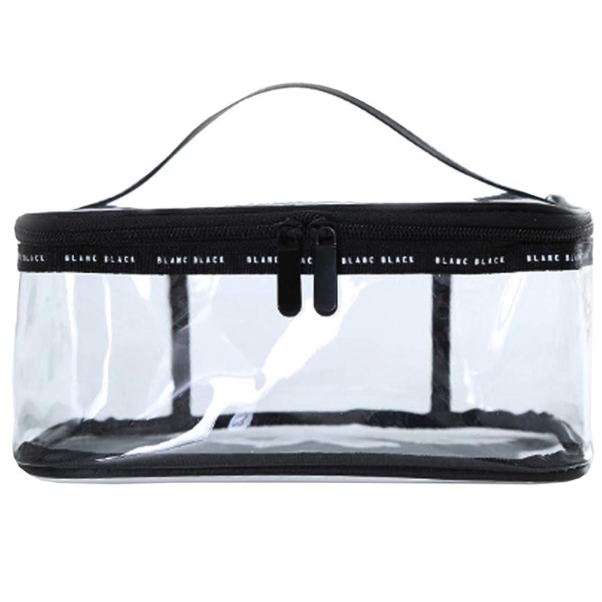 ブランド征服する値化粧ポーチ クリアポーチ 透明ポーチ クリアボックス ビニールポーチ PVC 化粧品収納 小物入れ 防水 (L)