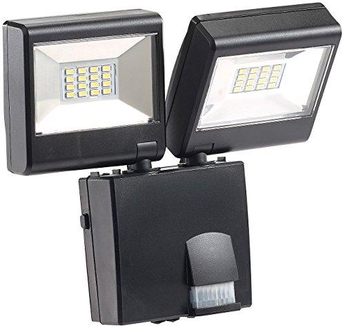 Luminea Lampe d'Extérieur :Projecteur d'extérieur à double LED avec capteur IRP, 16 W, protection IP44, 1 280 lm (Spot avec détecteur de mouvement)