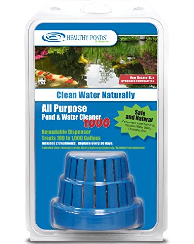 Healthy Ponds All Purpose Pond amp Water Cleaner 1000  Reloadable Dispenser with 2 30Day Refills Treats up to 1000 Gallons for 60 Days