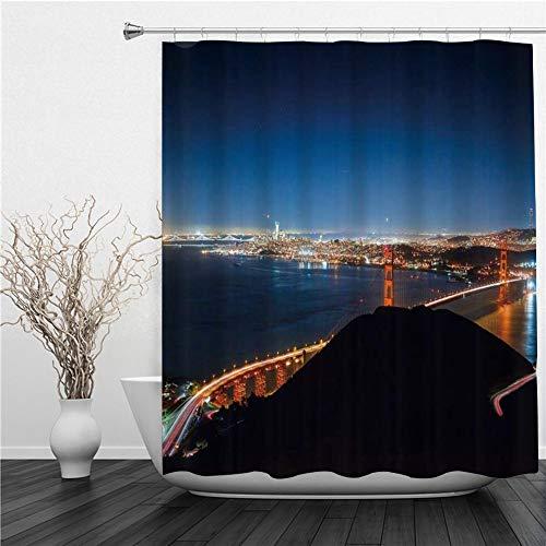 SUHETI Duschvorhang,Stadtbild Wunderbare Urbane Nachtansicht Golden Gate Bridge Strait Wohlhabender San Francisco Mountain Sky,Duschvorhang Wasserabweisend-Duschvorhangringen 12 Shower Curtain mit
