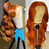 Evlynn Hair Lace Front Wigs red brown Synthetic orange Loose Wave Wigs Heavy Density Glueless Long Lace Wigs for Women Synthetic Wig (24 Inch Orange Red brown Wavy Lace Front Wig)