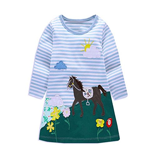VIKITA Mädchen Blumen Langarm Baumwolle Kleid EINWEG MS0269 6T