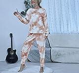 Eastbride Tie-Dye Conjunto de Pijama Mujer,Nuevo Traje de Pijama con Cuello Redondo y Tie-Dye-Ashes_XL #,Pijama Mujer Algodón 2 Piezas Set