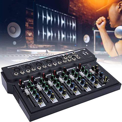Mixer per palcoscenico, Console di mixaggio Audio Professionale a Doppio LED a 7 canali a Basso Rumore con modulo MP3 USB per webcast e Canzone K 100~240 V(EU)