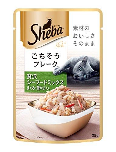 シーバ (Sheba) キャットフード リッチ ごちそうフレーク 贅沢シーフードミックス まぐろ・蟹かま入り 35g×96個 (ケース販売)