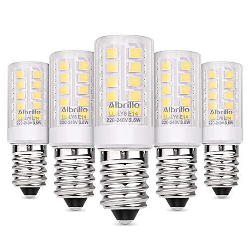 Albrillo E14 LED Lampe Kaltweiß 6000K, 3.5W / 330LM Glühbirne Ersatz 35W Halogenlampen, 360° Abstrahlwinkel für Kronleuchter, Wandlampe, Kühlschrank und Dunstabzugshaube, 5er Pack