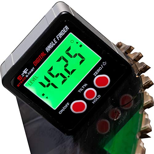 S&F STEAD & FAST Digital Angle Finder Gauge Magnetic Protractor Inclinometer Angle Cube Level Box with Magnetic Base and Backlight on Demand