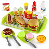 KIMSTONE Kids Pretend Play Food Set,Fast Food Toy for Toddler,Hamburger & Dessert Toys,Play Kitchen and Toy Food for Boys Girls