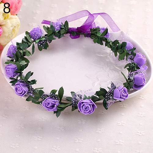 HomLand Rose Flower Crown Headband Wreath Party Wedding Bridal Garland Hairband Headwear for Home Purple