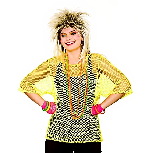 Adults 80's Rave Disco Hen Party Neon Mesh Top Fancy Dress Accessory-Neon Yellow