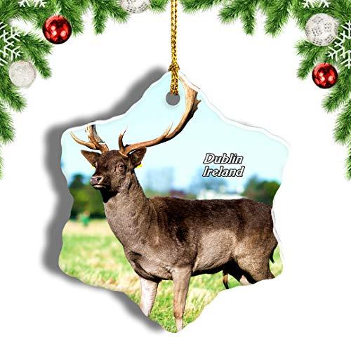 Weekino Ireland Phoenix Park Dublin Christmas Ornament Travel Souvenir Tree Hanging Pendant Decoration Porcelain 3' Double Sided