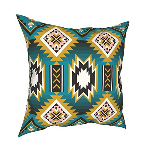 Native American Indian Aztec Geometric Seamless Square Throw Pillow Covers Cushion Case Pillowcase for Home Decor Sofa Couch Bedroom Car 45x45cm
