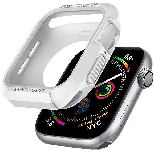 Spigen Rugged Armor Kompatibel mit Apple Watch Hülle für 44mm Serie 6/SE/5/4 - Weiß