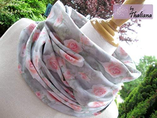 hellgrauer Schal mit ROSEN Loopschal aus Jersey romantisch pfirsichfarben Geschenk z. Geburtstag Muttertag