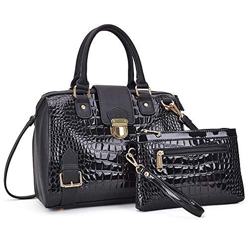 Dasein Women Barrel Handbags Purses Fashion Satchel Bags Top Handle Shoulder Bags Vegan Leather Work Bag Tote (Croco Black)