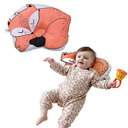 Baby Pillow - Infant Head Shaping Pillow with Cute Animal Cartoon, 3D Breathable Air Mesh Sleeping Pillow Filled with Organic Cotton, Head Support Cushion for Preventing Flat for 0-16 Months Baby
