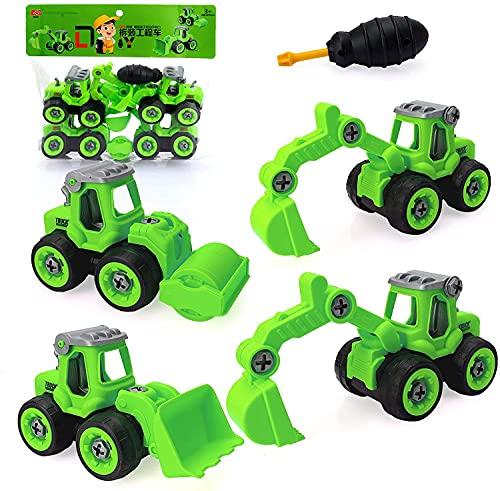 Sinwind 4 In 1 DIY Camion Escavatore Set Giocattoli Educativi per Bambini Giocattolo da Spiaggia Veicoli da Cantiere Assemblati Regali di Giocattoli Trolley Adatti per Ragazzi di 3 4 5 Anni(Verde)