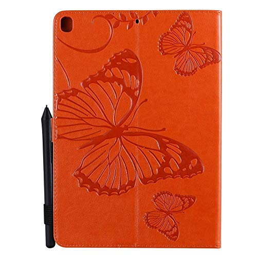 QiuKui Tab Cover For IPad 10.2 inch, Butterfly Pattern PU Leather Tablet Case Flip Stand Cover Shell+pen For IPad 10.2 inch 2019 7th Generation (Color : Rose Gold)