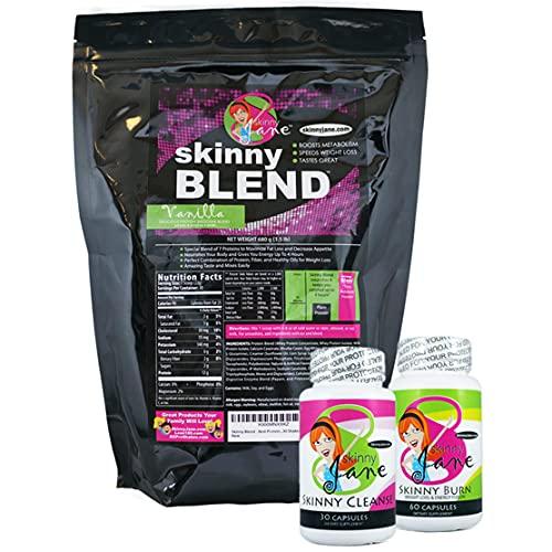 Best Weight Loss Kit, Quick Slim Kit, Diet Kit, Best Tasting Protein Shakes for Women, Appetite Suppressant Fat Burner Diet Pills, Cleanse and Detox, Fast Weight Loss, Skinny Jane - Vanilla