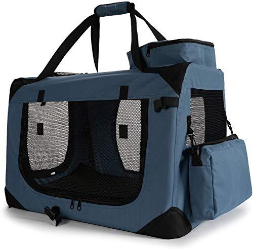 Zedelmaier Faltbare Hundebox Transportbox Hundekäfig mit verschiedenen Größen und Farben (S - 50 x 35 x 35 cm, Dunkelblau)