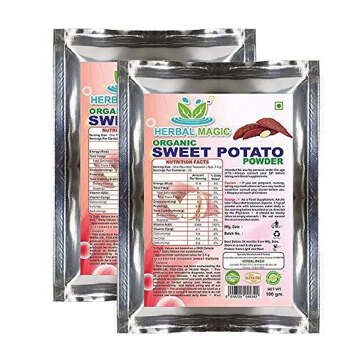 Herbal Magic's 100g Certified Organic Sweet Potato Powder Vitamin C A B6 Antioxidants Gut Eye Immune Whole Plant Used (200G, Organic Sweet Potato Powder)