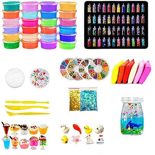 72/108Pcs DIY Slime Kit Supplies - Clear Crystal Slime Making Kit with Slime Foam Beads & Other Accessories -Soft Stretchy Non-Stick Magic Slime Toy Set - Stress Relief Squishy Slime Gift Pack(108PCS)