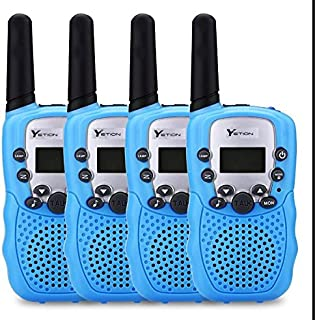 YETION Kids Walkie Talkies Two Way Radios Long Range Distance 22 Channel Clear Sound Toy Walky Talky for Christmas/Birthday Gift (Blue x 4)
