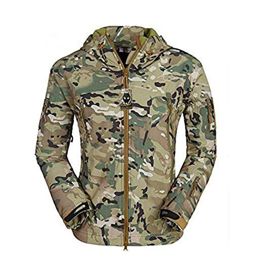 WorldShopping4U - Giacca da uomo impermeabile a maniche lunghe, con cappuccio; stile tattico / mimetico, per escursioni militari, soft-air, paintball, MC, XXXL